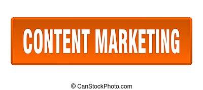 content marketing button. content marketing square orange push button