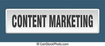 content marketing button. content marketing square white push button