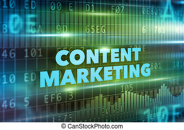 Content marketing concept green background blue text