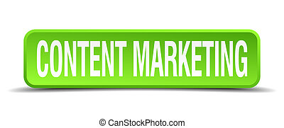 content marketing green 3d realistic square isolated button