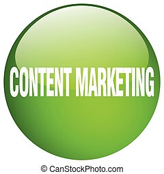 content marketing green round gel isolated push button