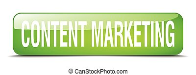 content marketing green square 3d realistic isolated web button