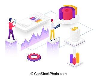 Content marketing isometric vector illustration