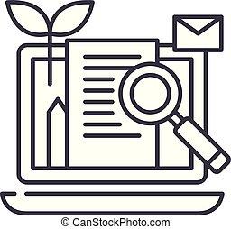 Content marketing line icon concept. Content marketing vector linear illustration, symbol, sign