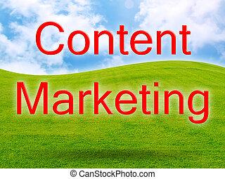 Content Marketing of green fresh grass under blue sky