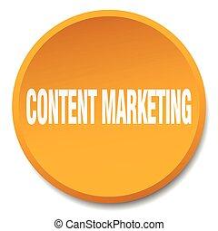 content marketing orange round flat isolated push button