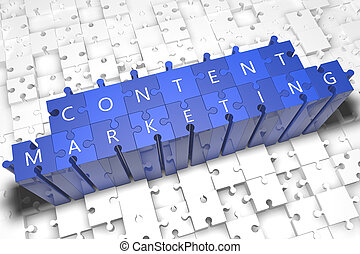 Content Marketing - puzzle 3d render illustration with block...