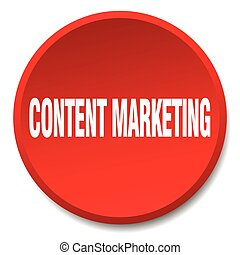 content marketing red round flat isolated push button
