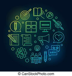 Content Marketing round bright vector line illustration