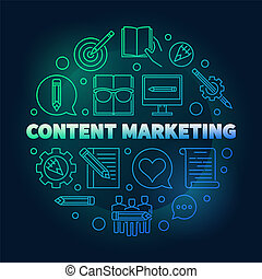Content Marketing round vector colored illustration