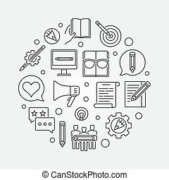 Content Marketing round vector outline illustration