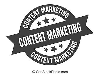 content marketing sign. content marketing black round ribbon sticker