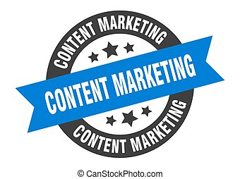 content marketing sign. content marketing blue-black round ribbon sticker