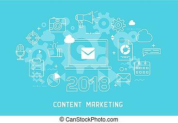Content marketing thin line modern illustration
