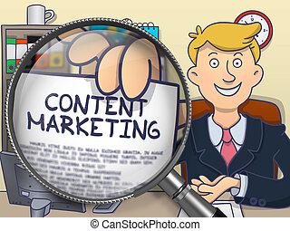 Content Marketing through Magnifier. Doodle Concept.