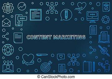 Content Marketing vector blue outline horizontal frame