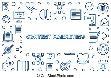 Content Marketing vector concept blue thin line frame
