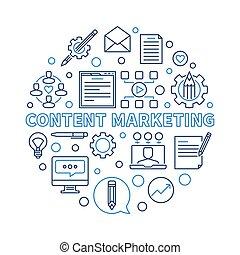 Content Marketing vector round creative thin line illustration