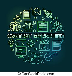 Content Marketing vector round green linear illustration