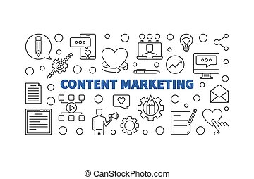 Content Marketing vector thin line horizontal illustration