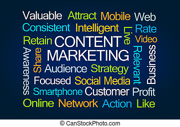 Content Marketing Word Cloud on Blue Background