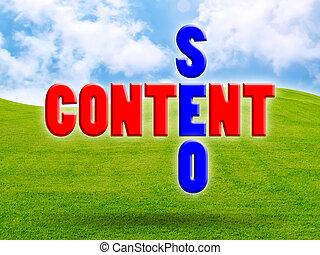 Content of green fresh grass under blue sky