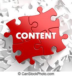 Content on Red Puzzle. - Content on Red Puzzle on White ...