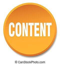 content orange round flat isolated push button