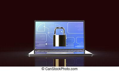 content., ordinateur cahier, clã©, rendre, 3d, maître, sécurité