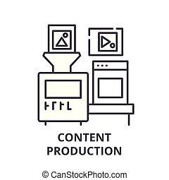 Content production line icon concept. Content production vector linear illustration, symbol, sign