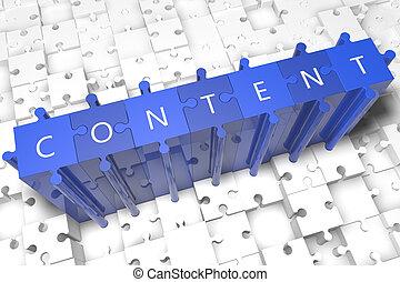 Content - puzzle 3d render illustration with block letters ...
