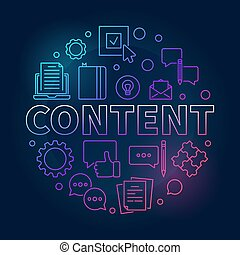 Content round outline vector colorful modern illustration