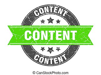 content round stamp with green ribbon. content