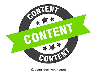 content sign. content black-green round ribbon sticker