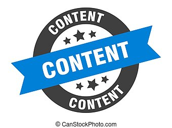 content sign. content blue-black round ribbon sticker