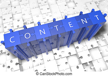Content - puzzle 3d render illustration with block letters...