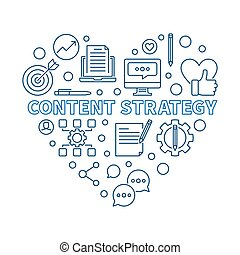 Content Strategy Heart vector blue linear illustration
