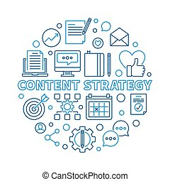 Content Strategy vector round outline modern illustration