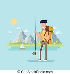 Content tourist with a fishing rod to catch fish on the background of a mountain lake. Happy fisherman on a sunny day. Natural landscape. Vector illustration in a flat style.