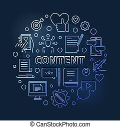 Content vector blue round concept outline illustration