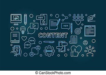 Content vector concept blue linear horizontal illustration