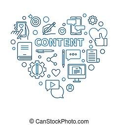 Content vector concept thin line blue heart illustration