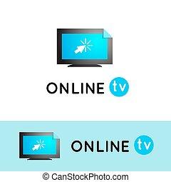 content., videi, osservare, media, vlog, vettore, tv., linea, internet., logo.