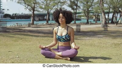 Content woman meditating in sunlight in park - Relaxed fit...