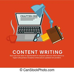 Content writing laptop with notebook and glasses lamp vector...