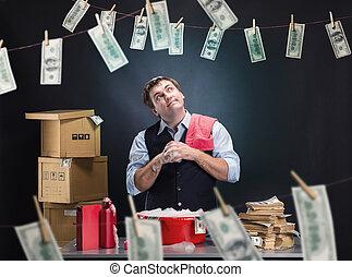 contente, homem negócios, é, passar roupa, dinheiro