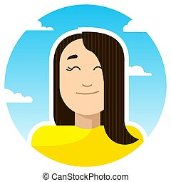 contented girl smiles closing her eyes; round icon on a background of sky and clouds. Stylized vector caucasian girl.