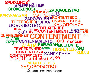 Contentment multilanguage wordcloud background concept