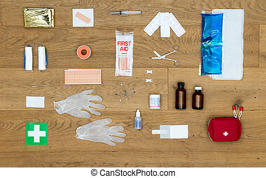 Contents of a first aid kit background - The items and...