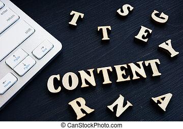 contenu, bois, concept., letters., smo, seo